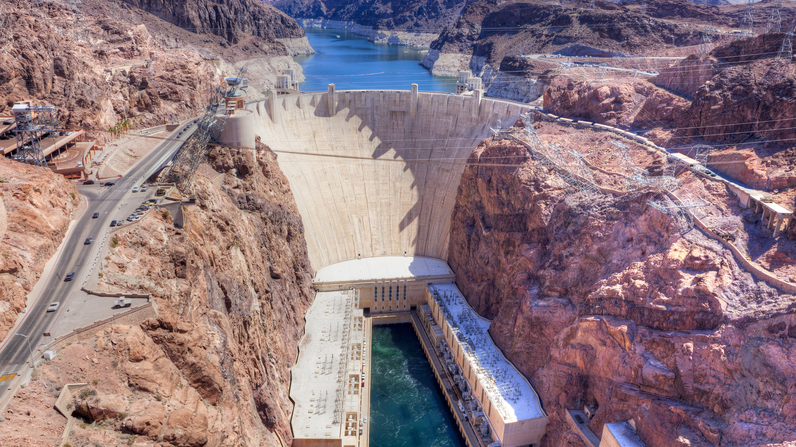 Birds eye view of Boulder Dam from down river side