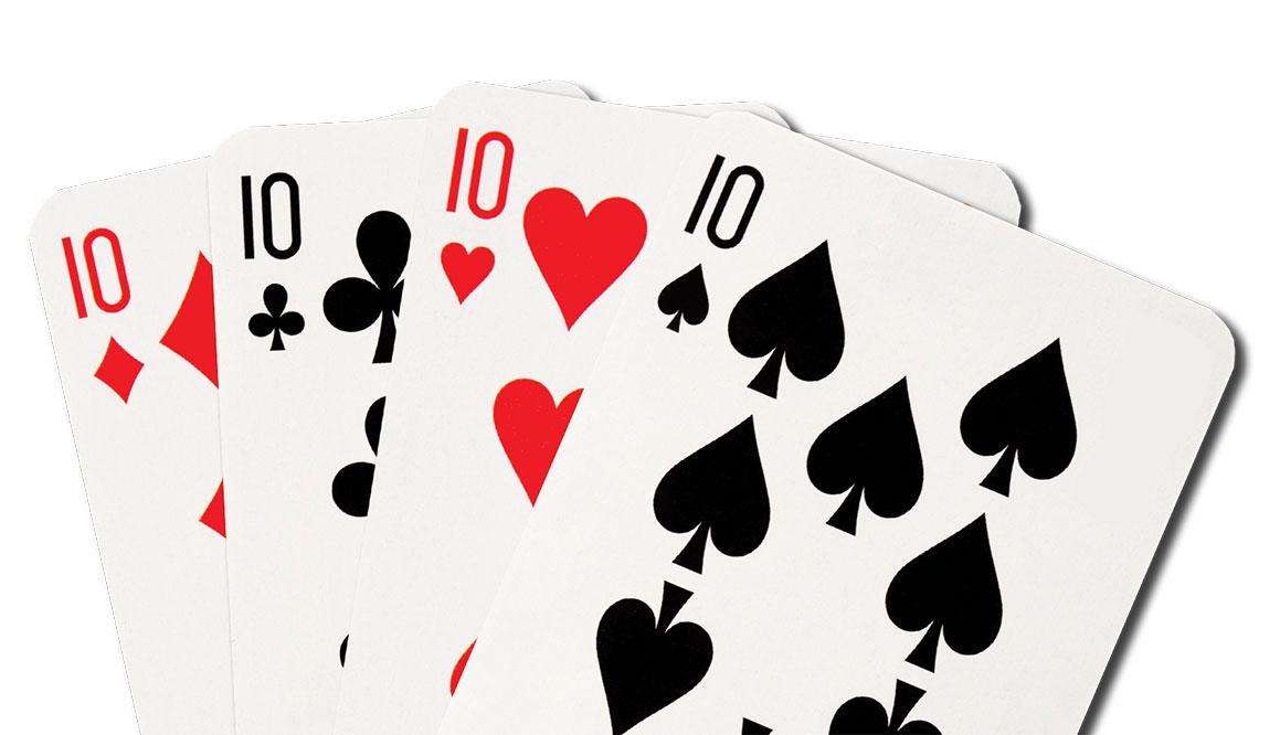 Four 10 poke cards